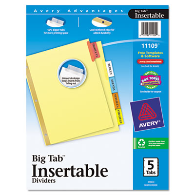 AVERY WORKSAVER BIG TAB INSERTABLE