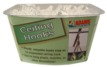 CLEAR PLASTIC CEILING HOOK