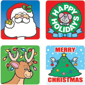 STICKERS CHRISTMAS 120/PK ACID &