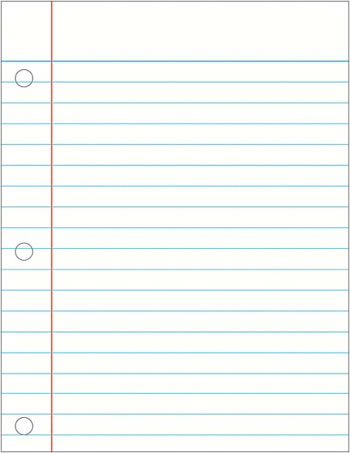 NOTEBOOK PAPER LAMINATED CHARTLET