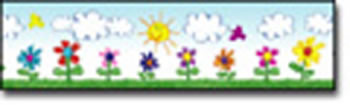 BORDER FLOWERS KID-DRAWN STRAIGHT