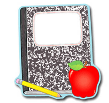 COMPOSITION BOOK AND APPLE