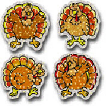 DAZZLE STICKERS TURKEYS 60PK ACID