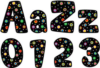 DOTS ON BLACK DESIGNER LETTERS