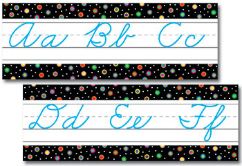DOTS ON BLACK ALPHABET CURSIVE