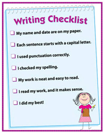 WRITING CHECKLIST CHART GR 1-3