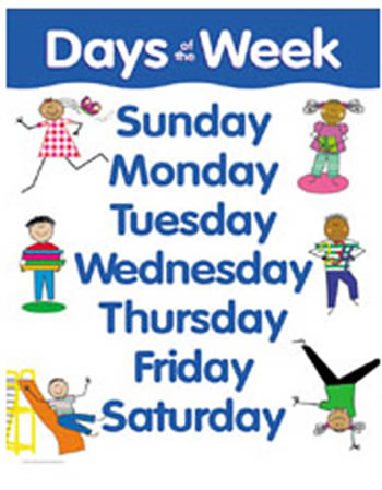 DAYS OF THE WEEK SMALL CHART