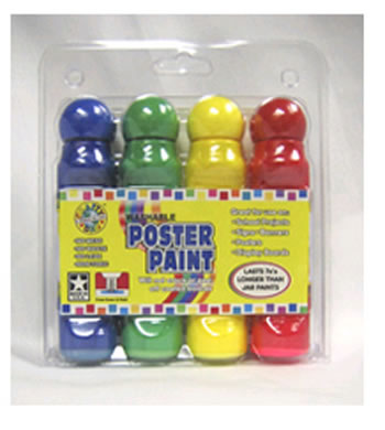 POSTER PAINT 4 PACK CLAMSHELL