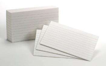 RULED INDEX CARDS 10PKS/100EA 3X5