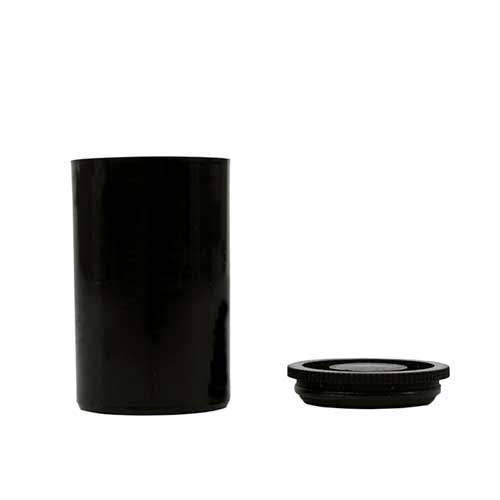 Container Small Black Plastic w/lid