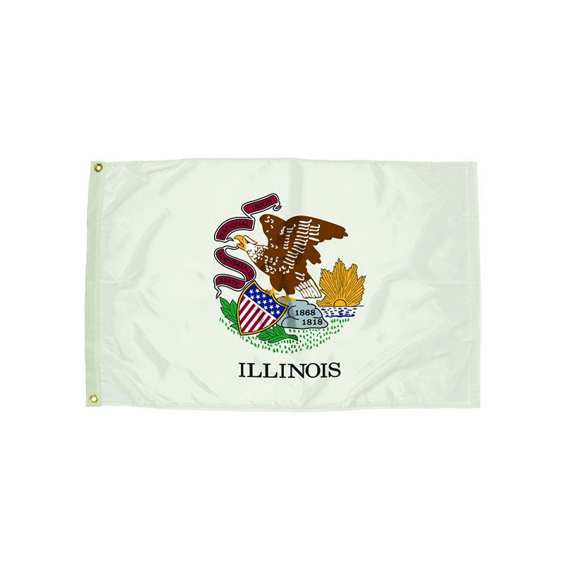 3X5 NYLON ILLINOIS FLAG HEADING &
