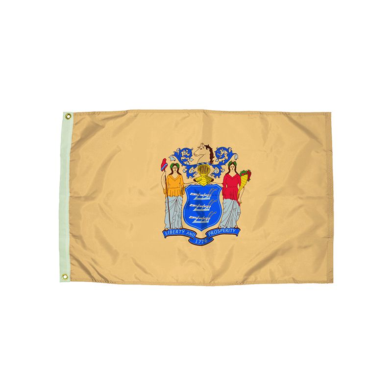 3X5 NYLON NEW JERSEY FLAG HEADING &