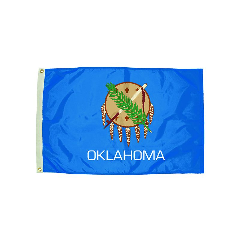 3X5 NYLON OKLAHOMA FLAG HEADING &