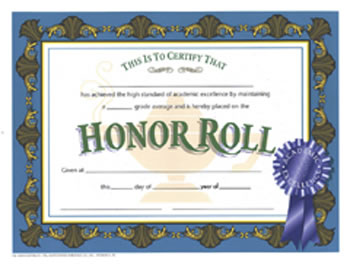 CERTIFICATES HONOR ROLL BLUE 30/PK