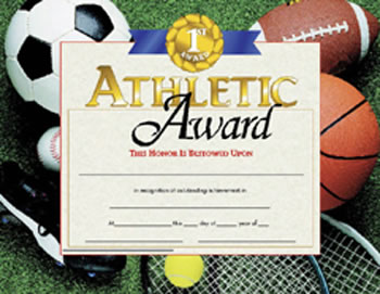 CERTIFICATES ATHLETIC AWARD 30 PK