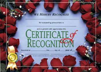 CERTIFICATES OF RECOGNITION 30/PK