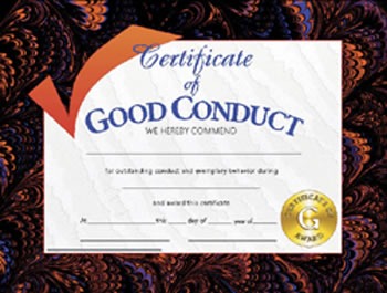 CERTIFICATES GOOD CONDUCT 30/PK