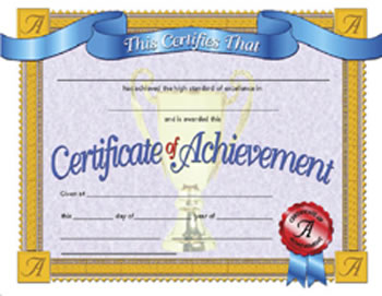 CERTIFICATES OF ACHIEVEMENT 30/PK