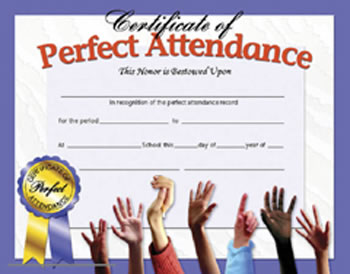 CERTIFICATES PERFECT ATTENDANCE 30
