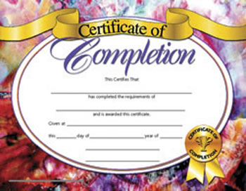 CERTIFICATES OF COMPLETION 30/PK