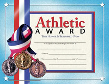 CERTIFICATES ATHLETIC AWARD 30/PK