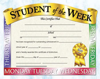 STUDENT OF THE WEEK 30PK 8.5 X 11