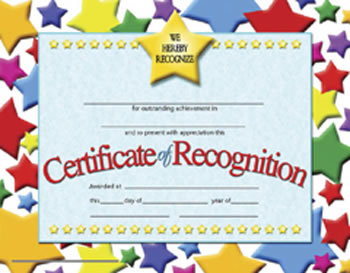 CERTIFICATES OF RECOGNITION 30 PK