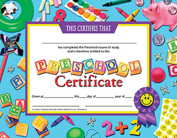 CERTIFICATES PRESCHOOL 30-SET