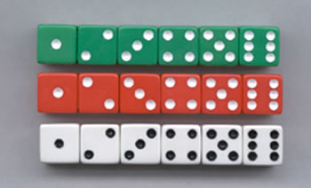 DOT DICE 6 EACH OF RED WHITE &