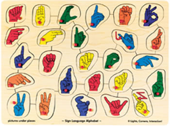 PUZZLE SIGN LANGUAGE ALPHABET PEG
