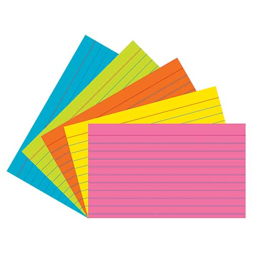 SUPER BRIGHT INDEX CARDS 3X5 RULED