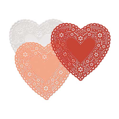 DOILIES HEARTS 6IN 30CT
