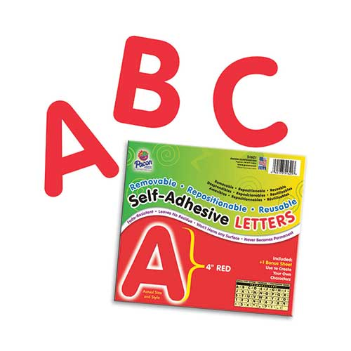 SELF ADHESIVE LETTER 4IN RED