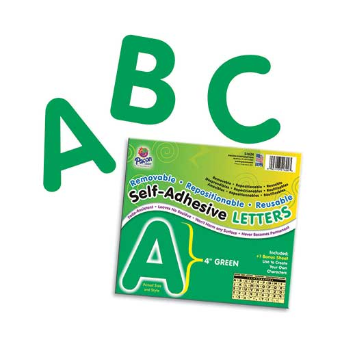 SELF ADHESIVE LETTER 4IN GREEN