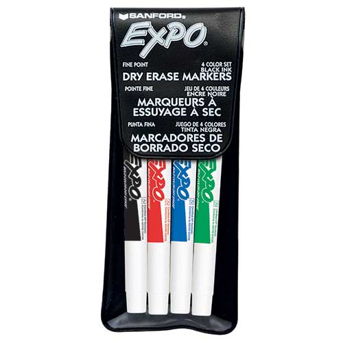 MARKER SET EXPO DRYERASE 4 COLOR