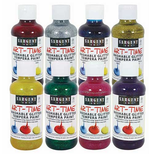 WASHABLE GLITTER TEMPERA PAINT 8PK
