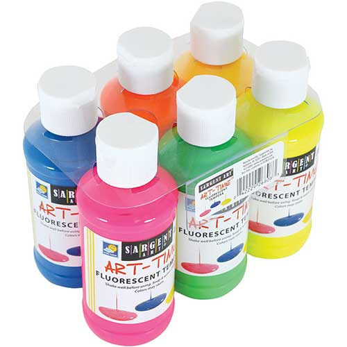 6CT 4OZ FLUORESCENT TEMPERA SET W/