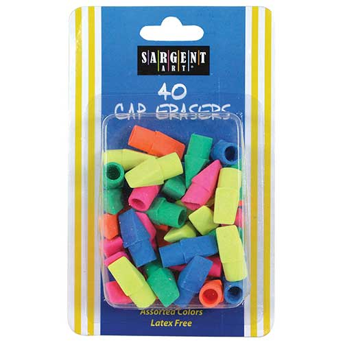 40CT ASSORTED COLOR CAP ERASER