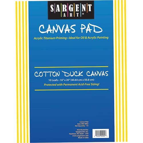 SARGENT ART CANVAS PAD 16X20 10SHTS