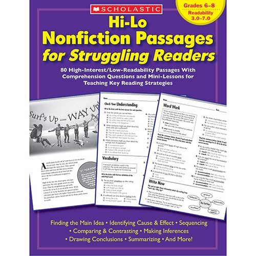 HI-LO NONFICTION PASSAGES GR 6-8