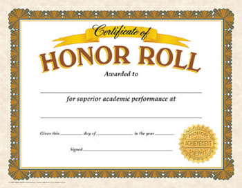 CERTIFICATE OF HONOR ROLL 30/PK