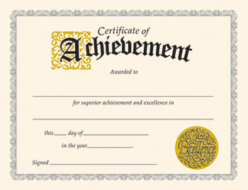 CERTIFICATE OF ACHIEVEMENT 30/PK