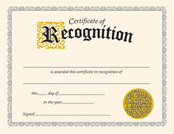 CERTIFICATE OF RECOGNITION 30/PK