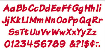 READY LETTERS 4 INCH ITALIC RED