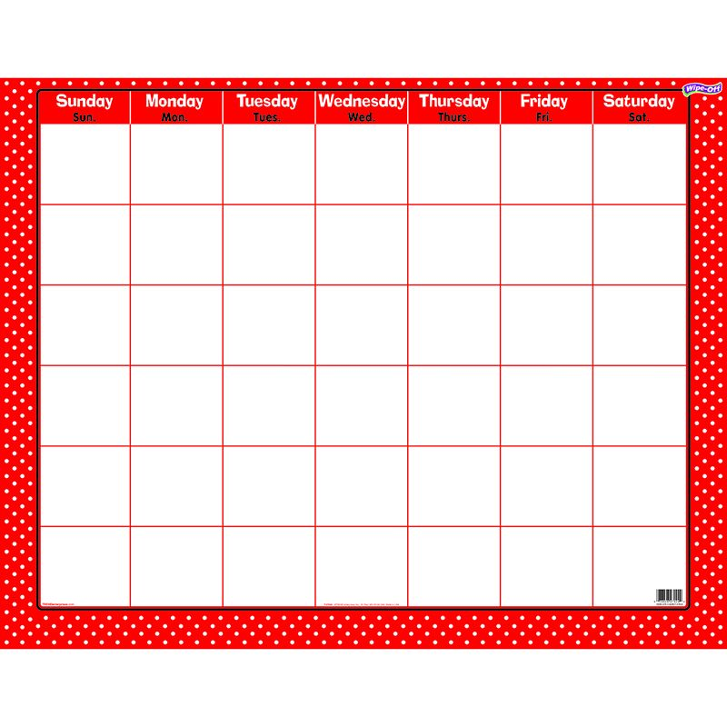POLKA DOTS RED WIPE OFF CALENDAR