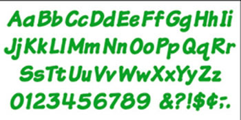 READY LETTERS 4 INCH ITALIC GREEN