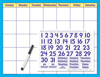 REUSABLE CALENDAR CLING NUMERALS