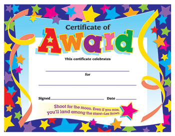 CERTIFICATE OF AWARD STARS 30/PK