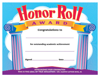 CERTIFICATE HONOR ROLL AWARD 30/PK