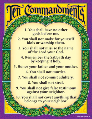 LEARNING CHART TEN COMMANDMENTS